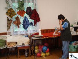 Žehlicí koutek a ukázky batiky